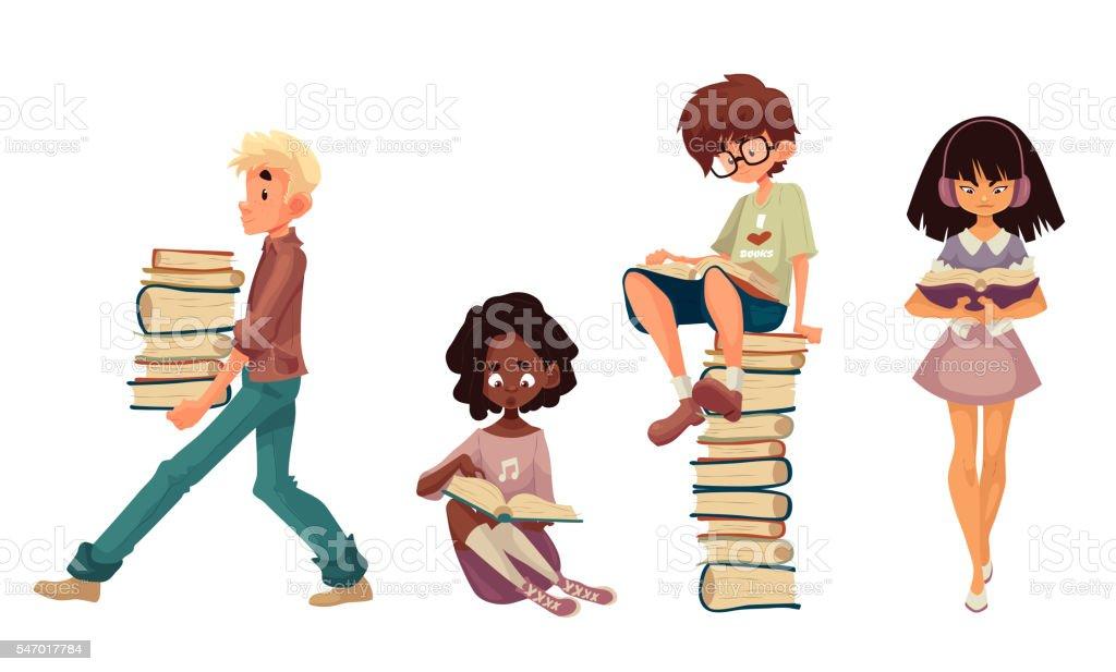 Set of sitting and walking children reading books vector art illustration