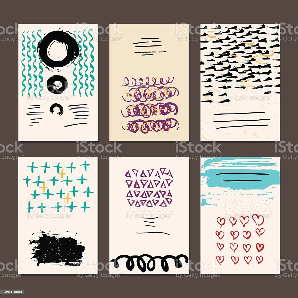 Set of six abstract frames in doodle format vector art illustration