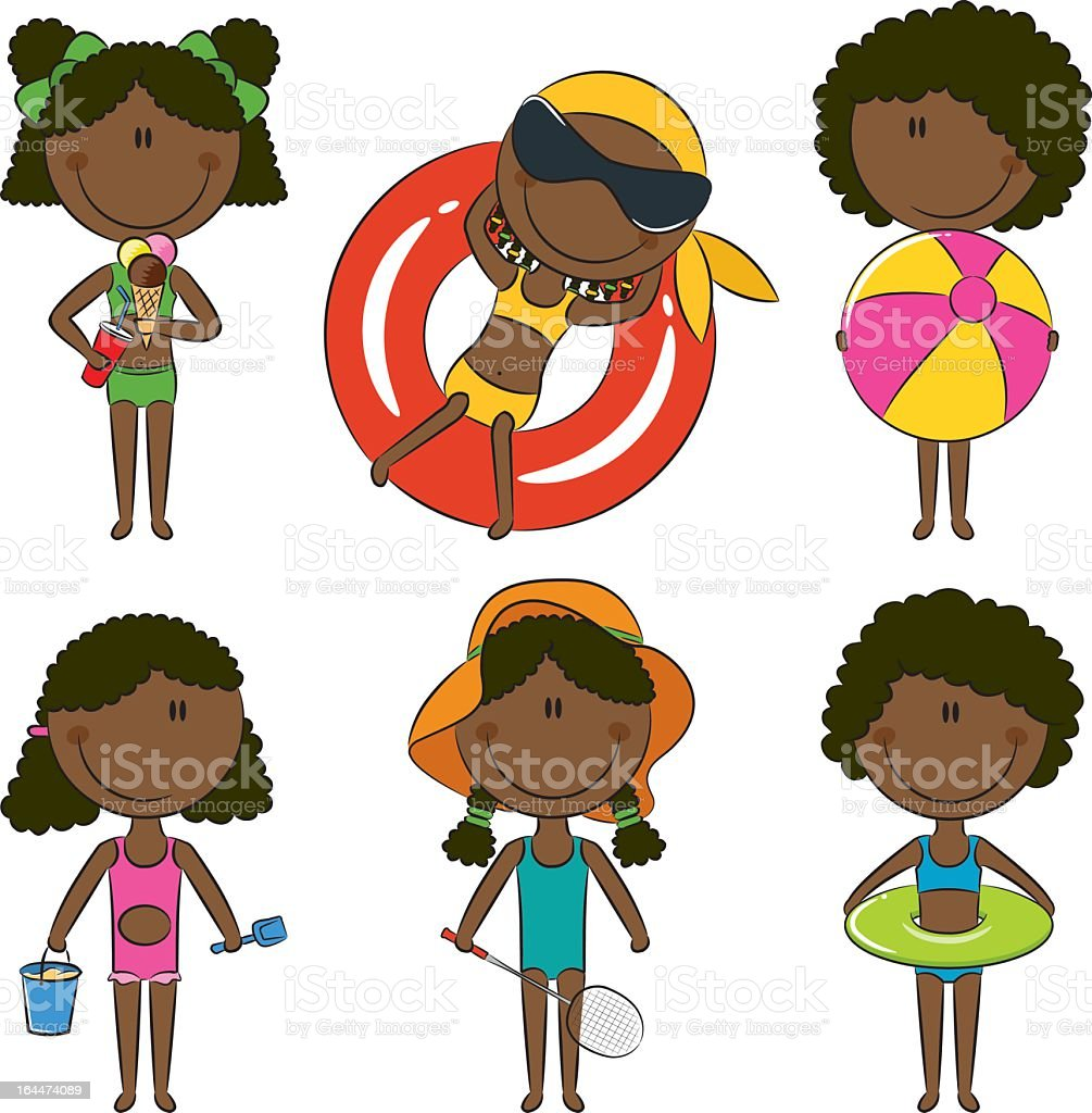 A set of six African American children with beach items vector art illustration