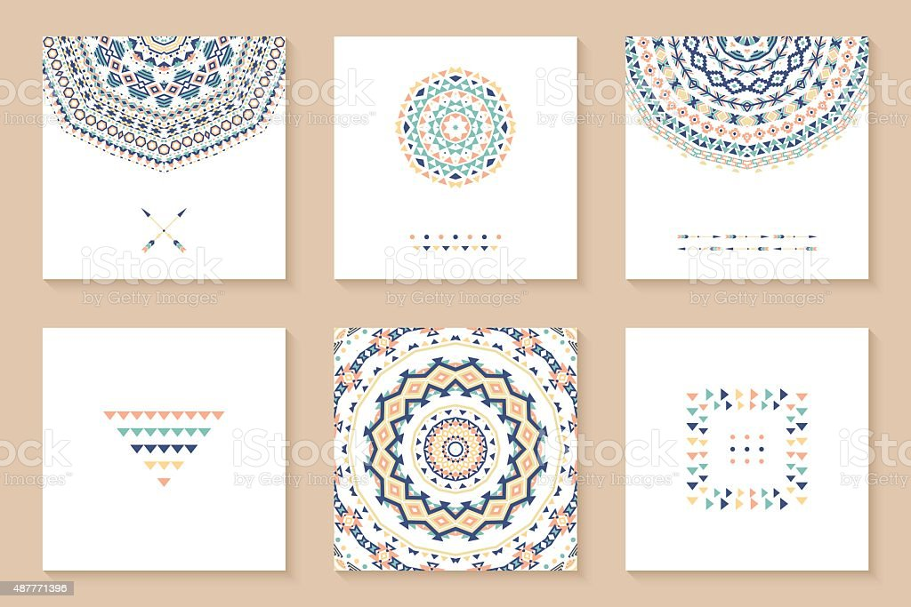Set of six cards with ethnic design. vector art illustration