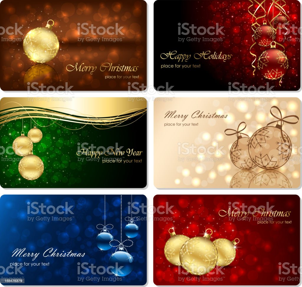 Set of six Christmas cards royalty-free stock vector art