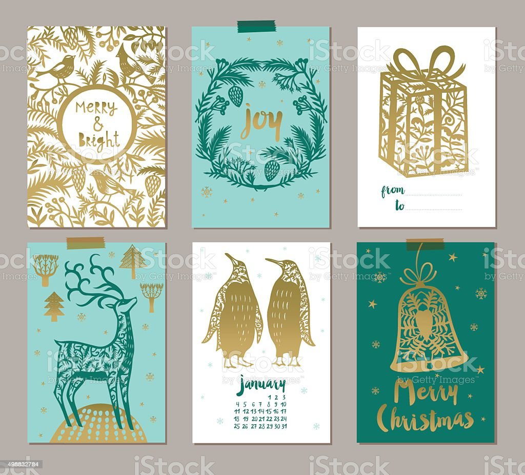 Set of six Christmas labels or tags vector art illustration