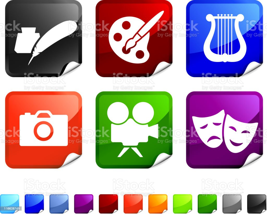Set of six color stickers with icons relating to the arts royalty-free stock vector art