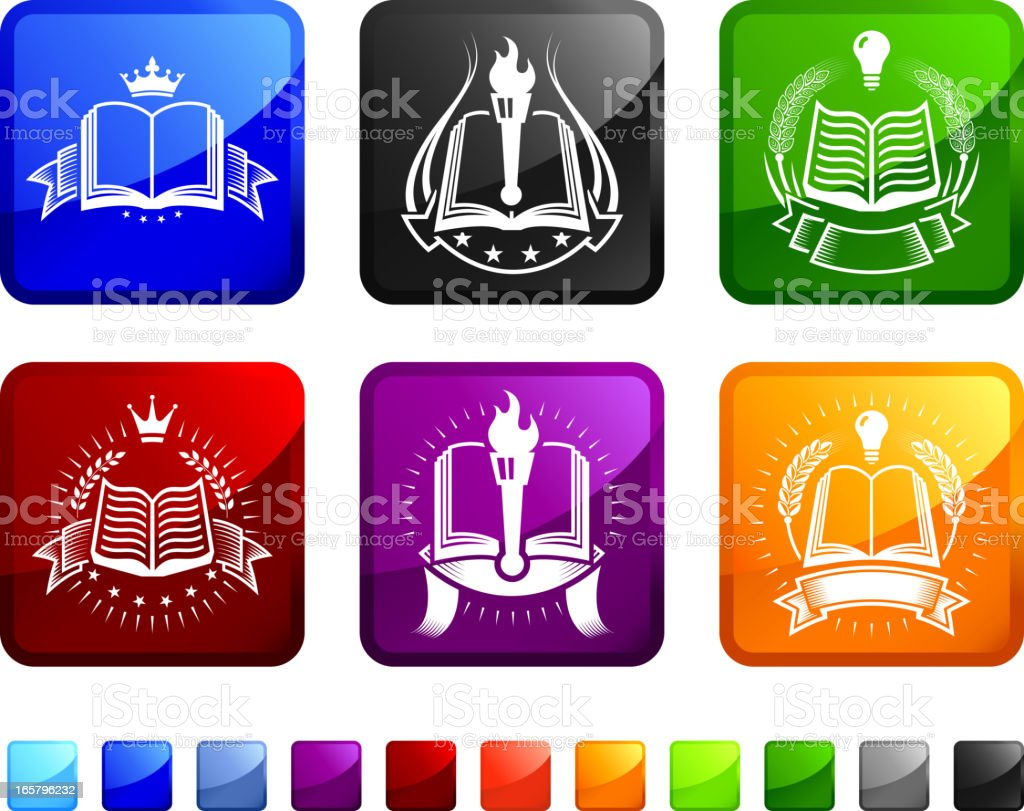 A set of six colored stickers with icons of book badges. royalty-free stock vector art