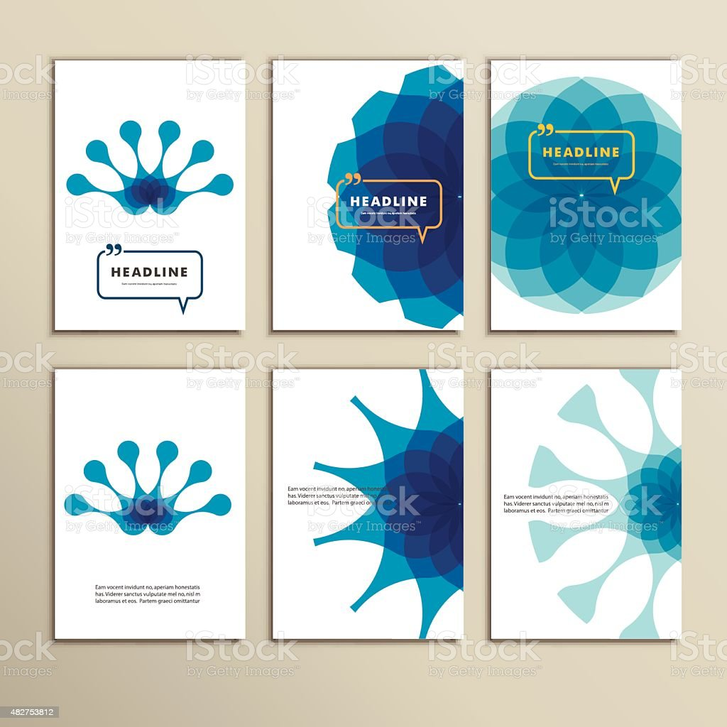 Set of six covers with abstract patterns vector art illustration