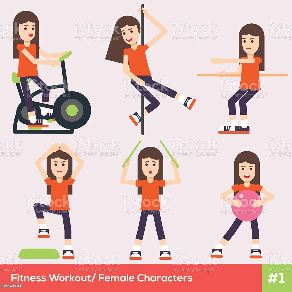 Set of six fitness female characters 1 vector art illustration
