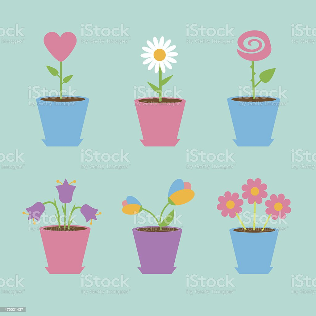 Set of six flowers in pots. Blue background. Card royalty-free stock vector art