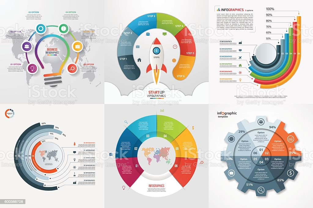 Set of six infographic 6 options, steps, parts, processes templates. vector art illustration