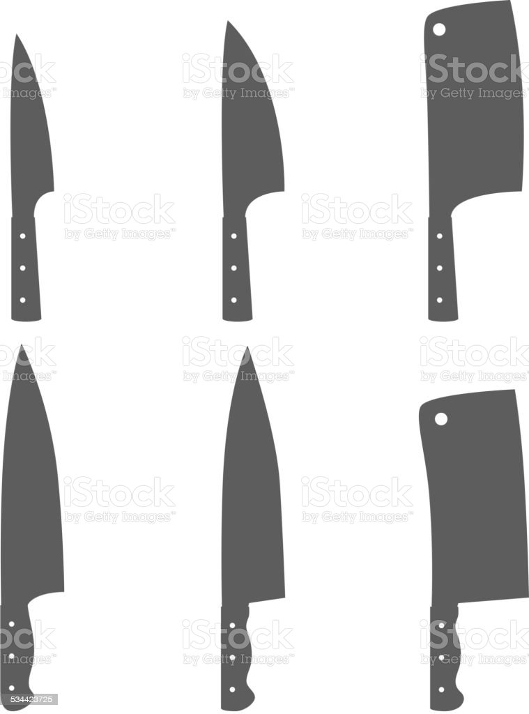 Set of six kitchen knives vector vector art illustration