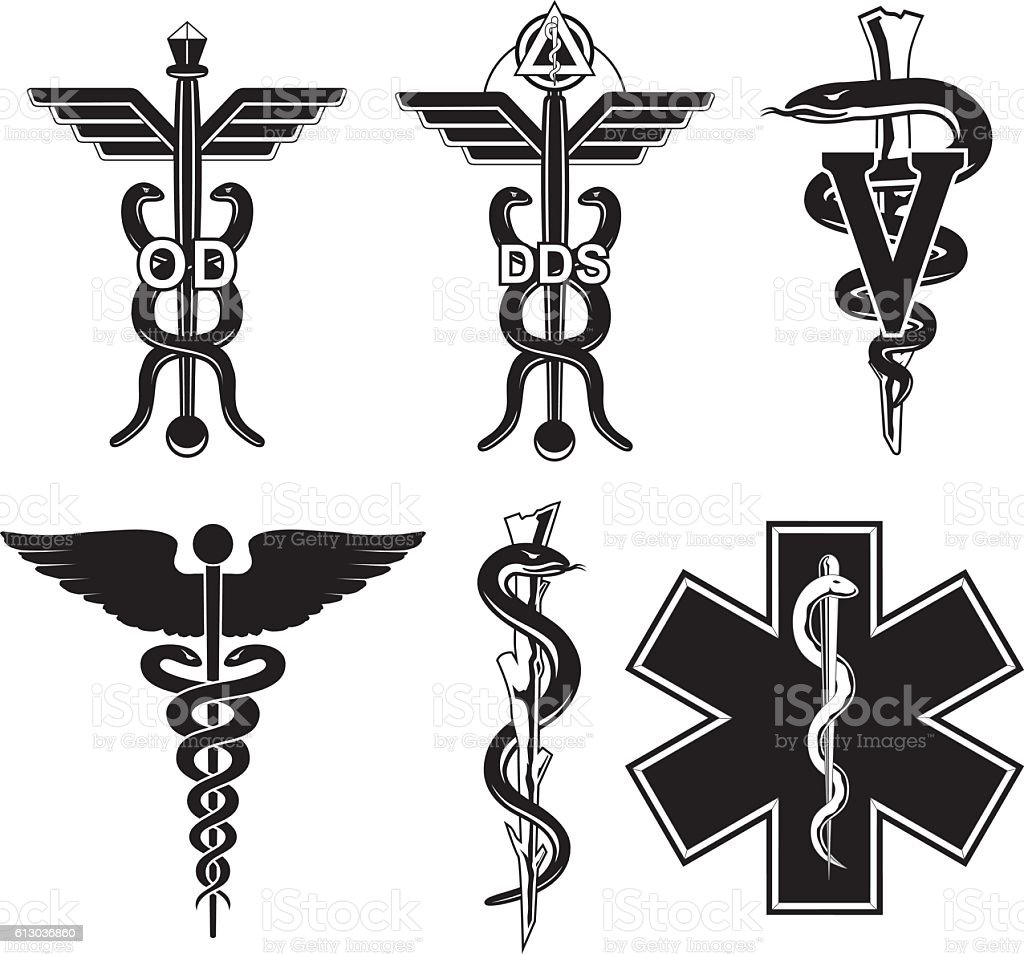 Set of six medical symbols vector art illustration