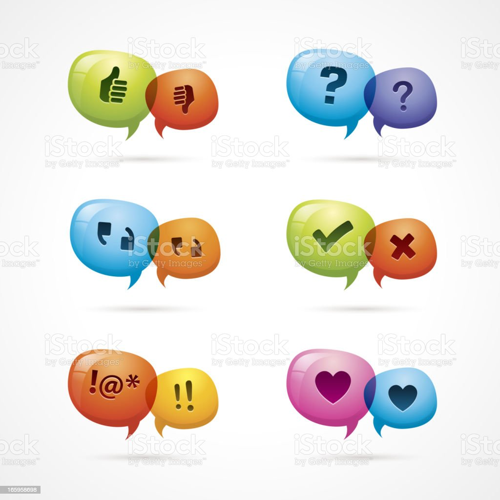 Set of six multicolored discussion icons vector art illustration