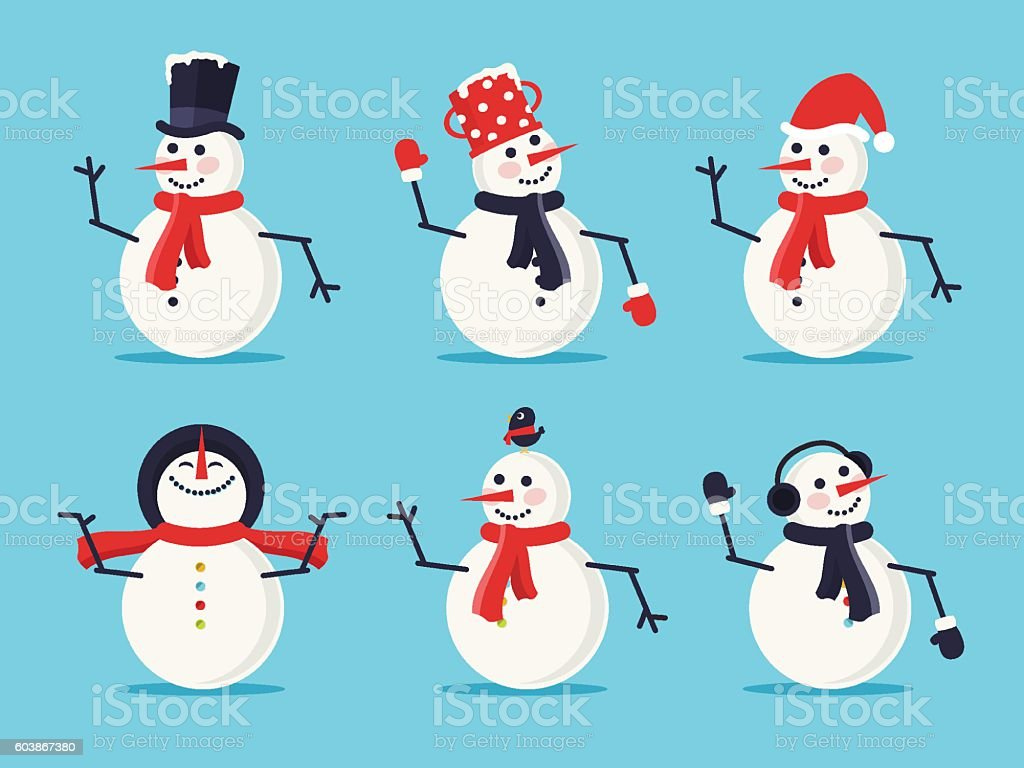 Set of Six Snowmen vector art illustration
