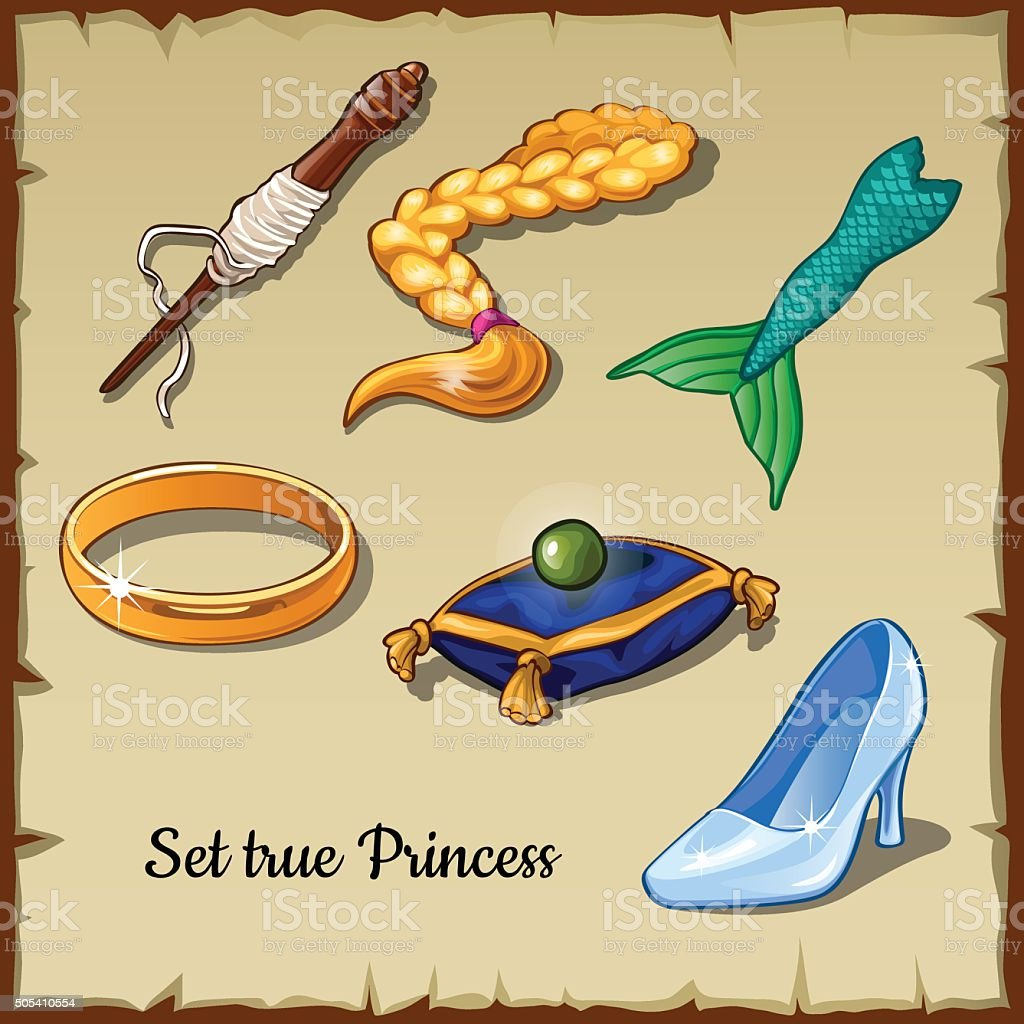 Set of six specific items for a true Princess vector art illustration