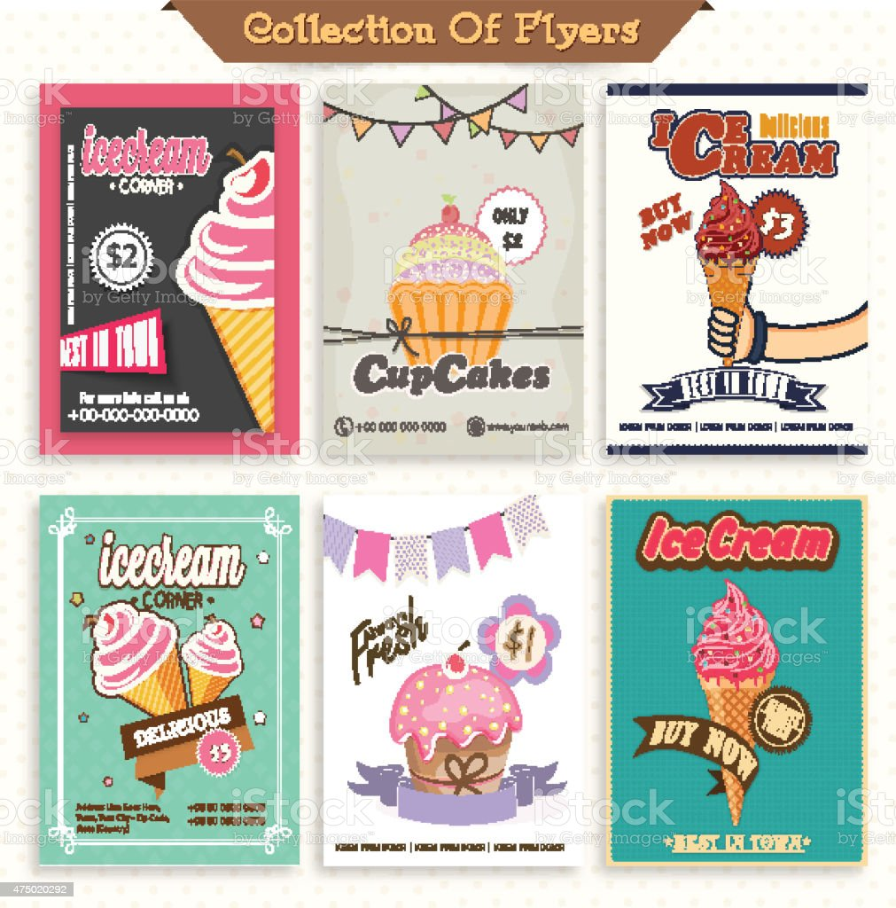 Set of six stylish flyers of ice-cream and cupcakes. vector art illustration