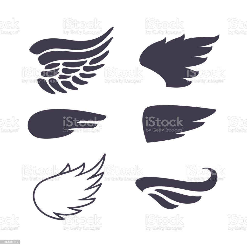 Set of Six Wings Silhouettes vector art illustration