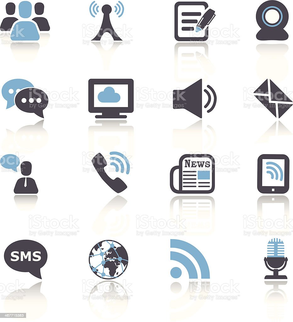 Set of sixteen black, blue and white communication icons vector art illustration