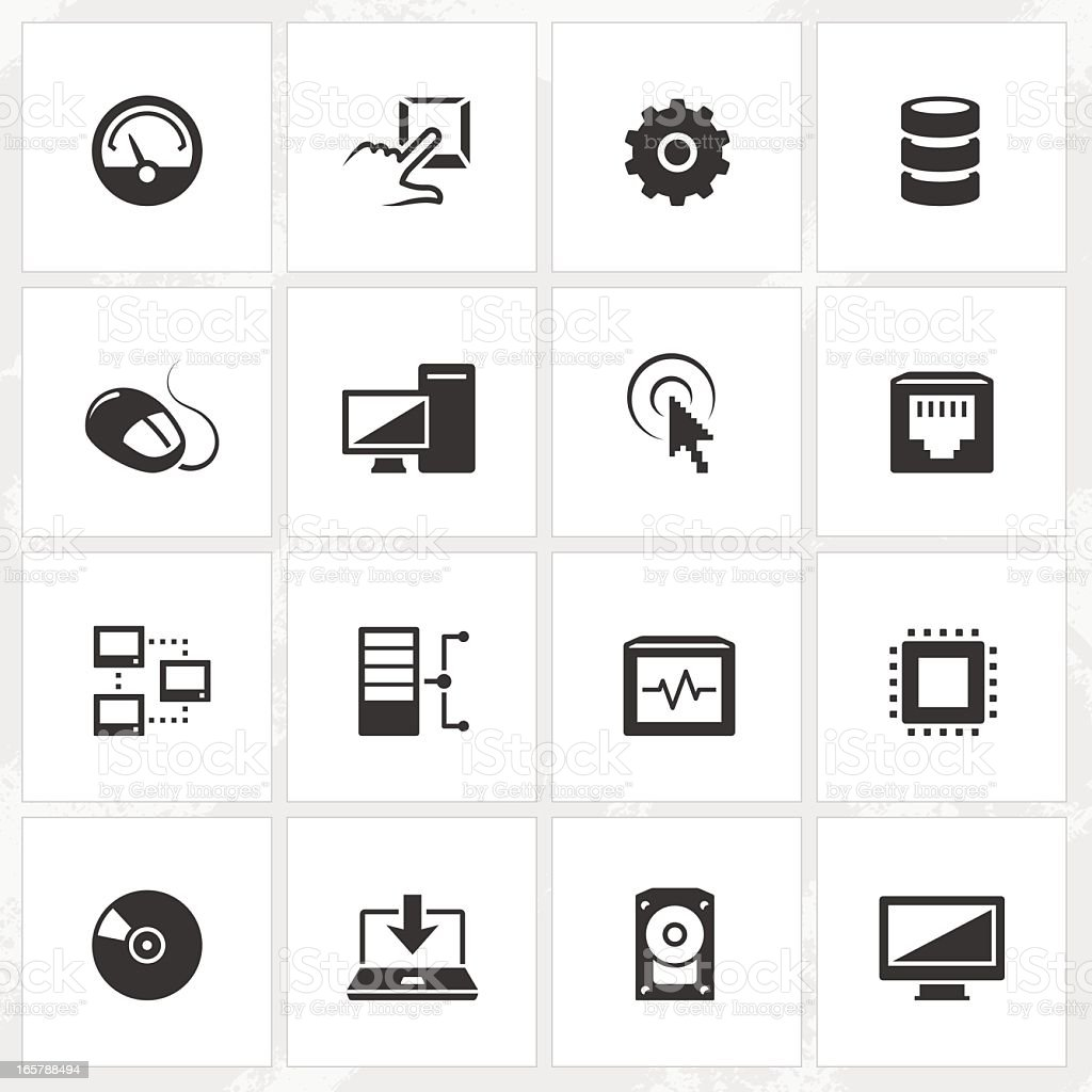Set of sixteen black computer icons in white squares royalty-free stock vector art