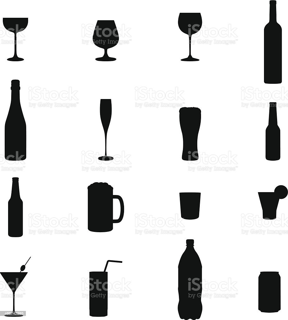 Set Of Sixteen Drinks Black Silhouette Vector Illustrations vector art illustration