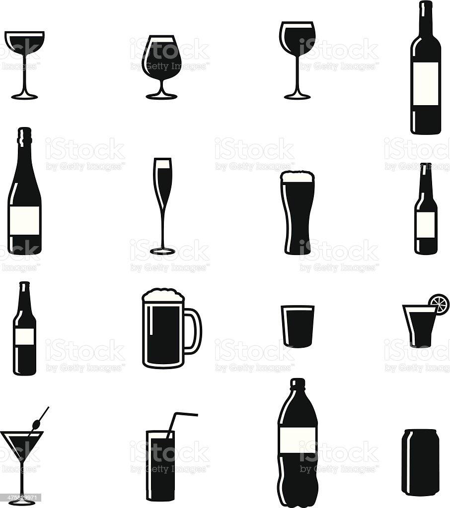 Set Of Sixteen Drinks Black & White Silhouette Vector Illustrations vector art illustration