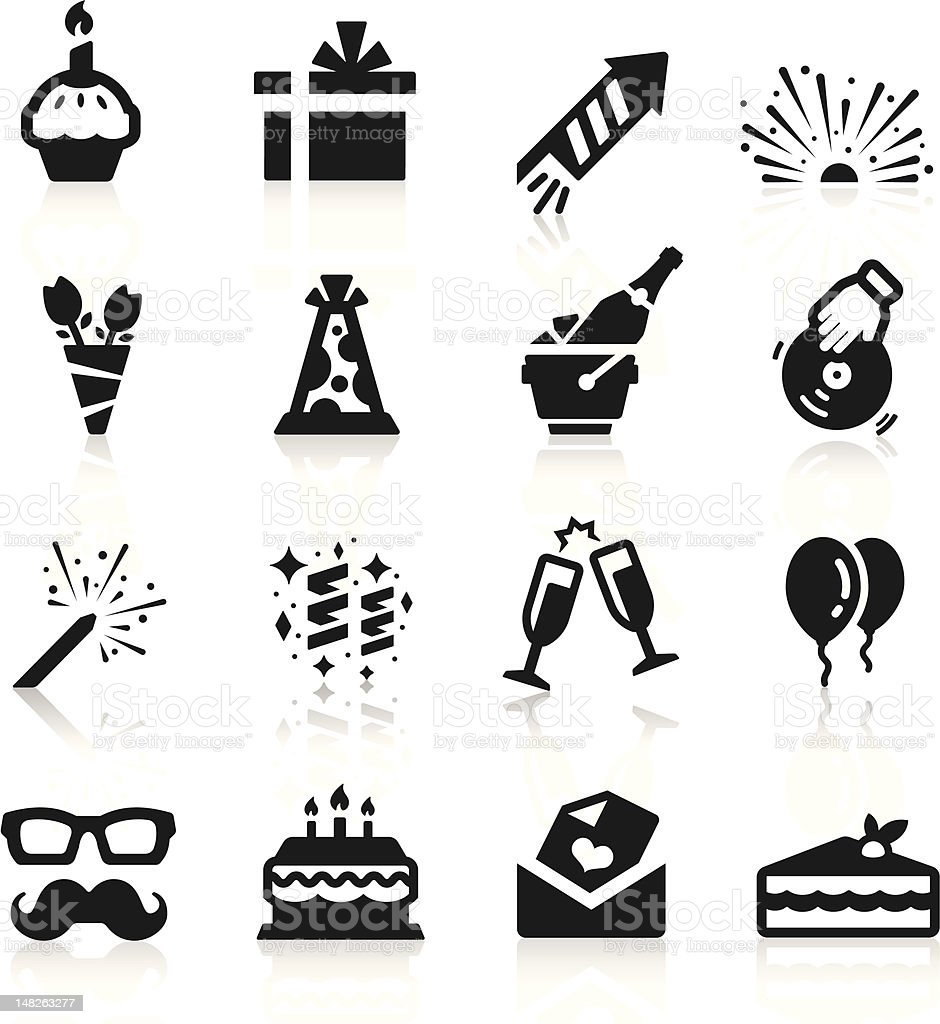 Set of sixteen flat birthday-themed black and white icons vector art illustration