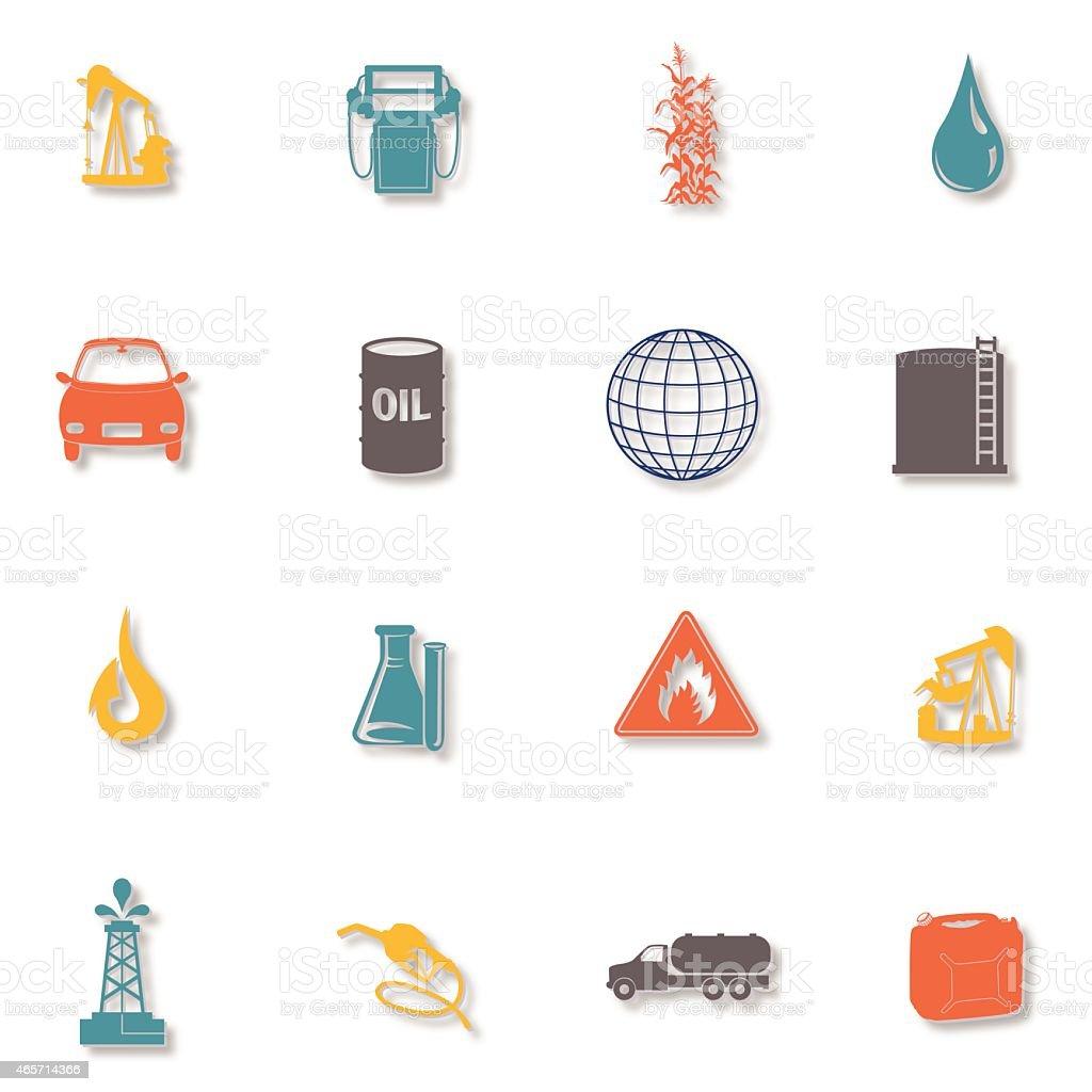 Set of Sixteen Fuel Icons vector art illustration