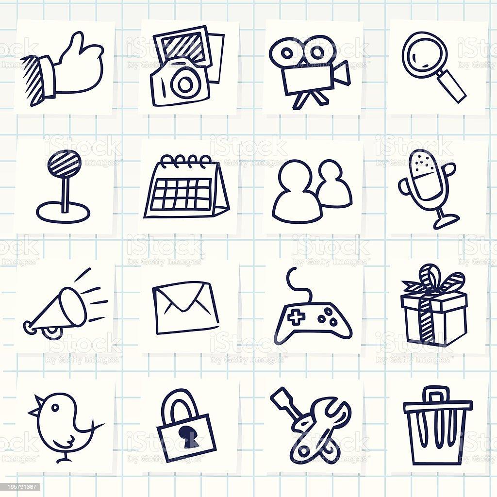 Set of sixteen hand-drawn social network icons vector art illustration