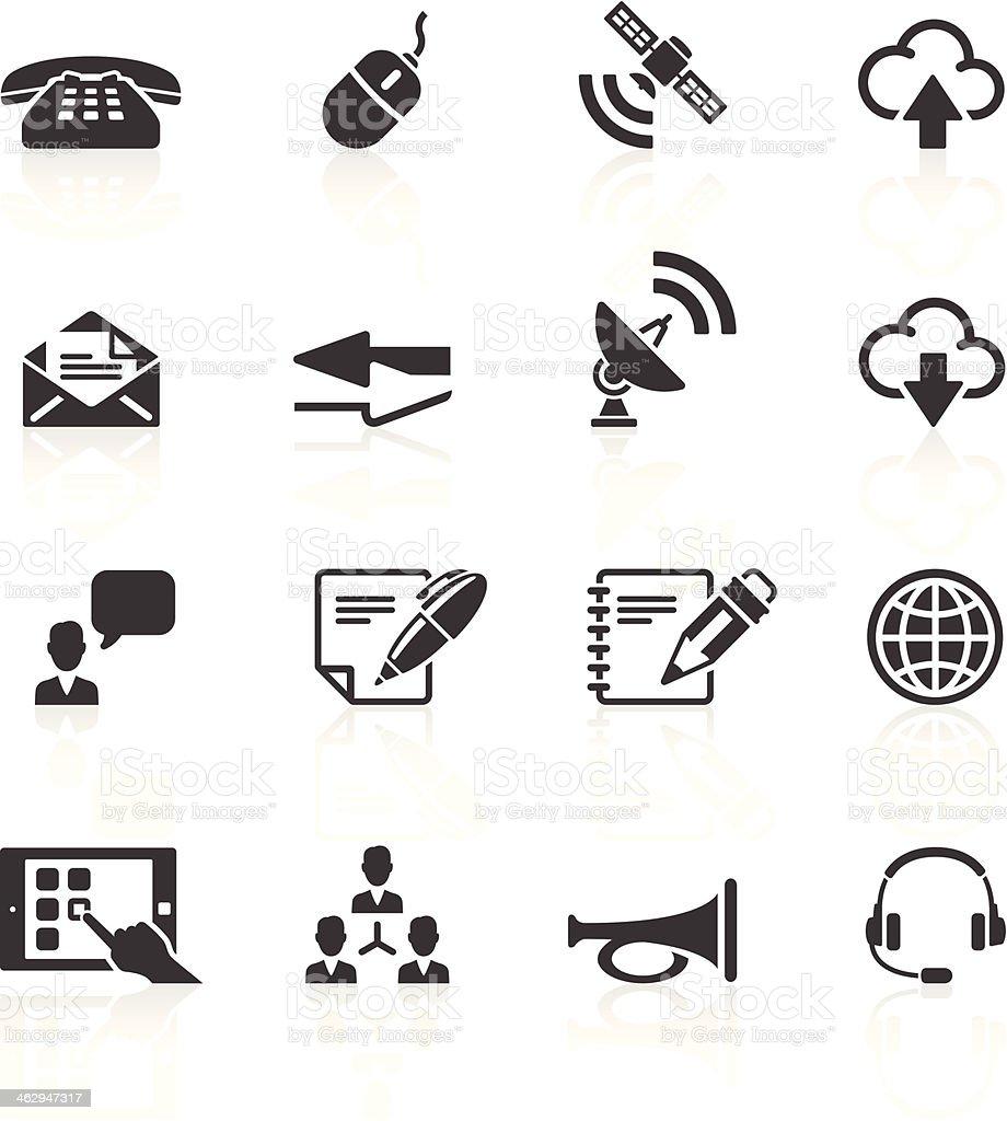 Set of sixteen simple black communication icons vector art illustration