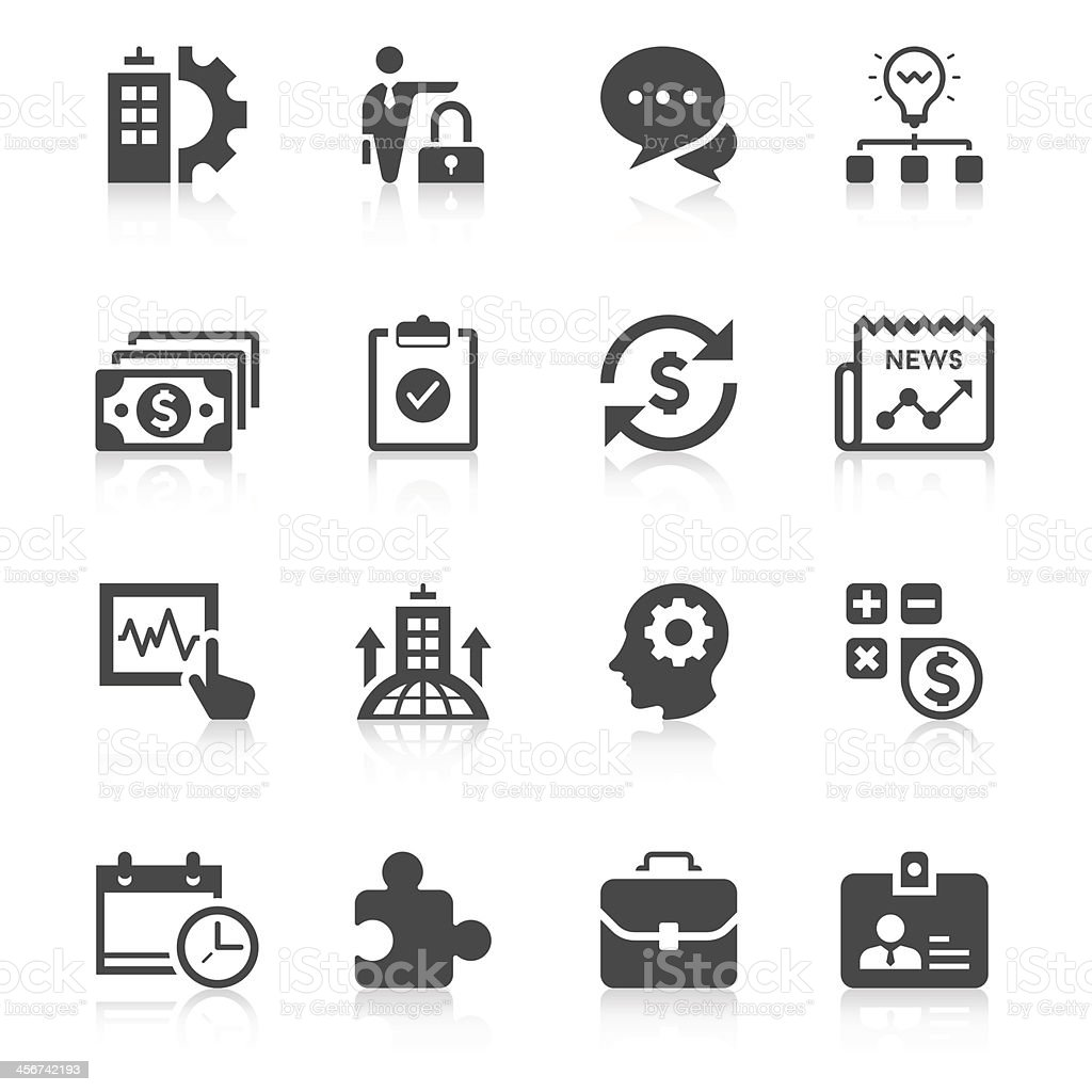 Set of sixteen unique business icons in black and white vector art illustration