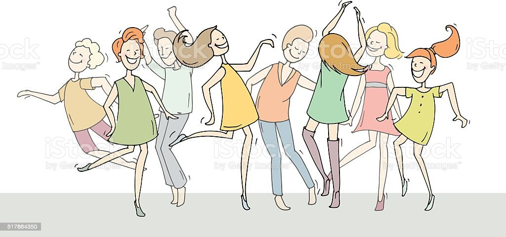 Set of sketch dancing people in different poses vector art illustration