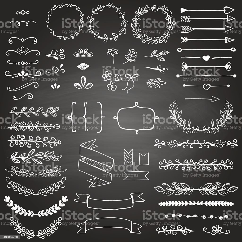 Set of sketched design elements on the blackboard vector art illustration