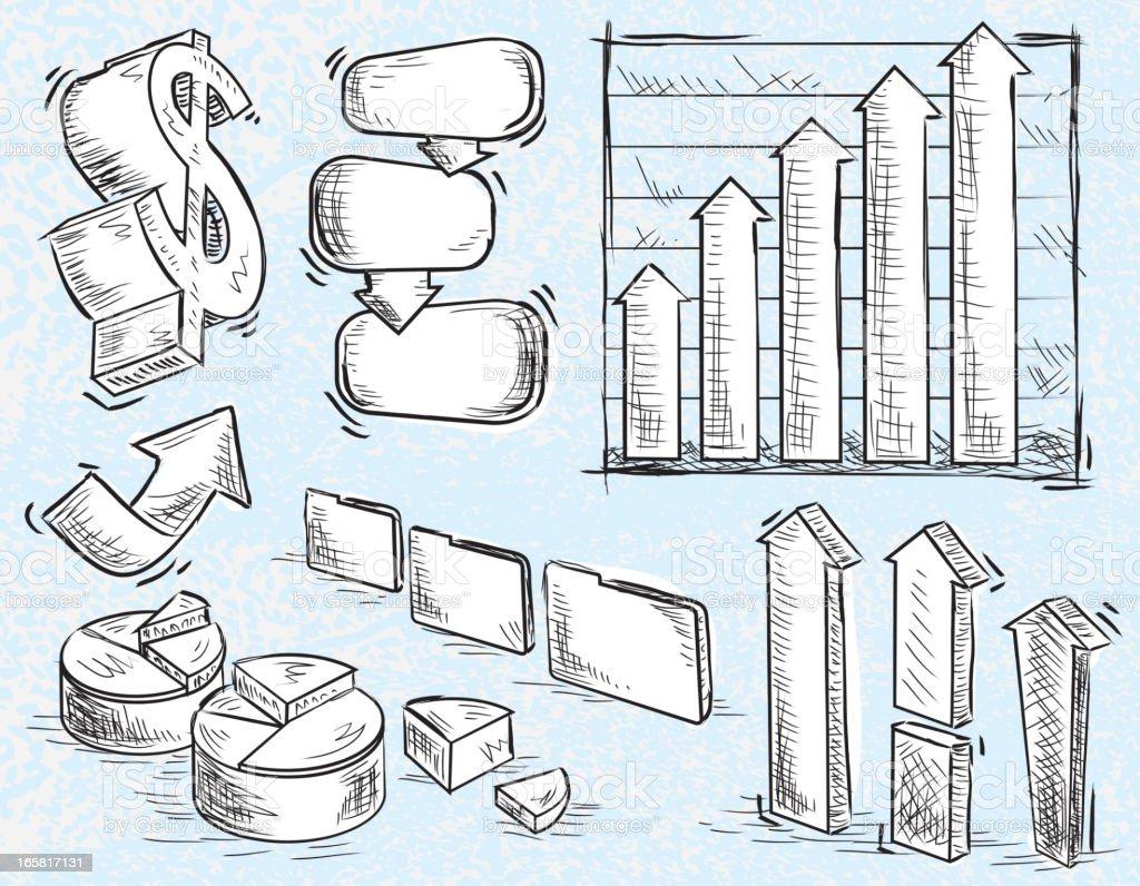 Set of sketchy business or finance elements vector art illustration