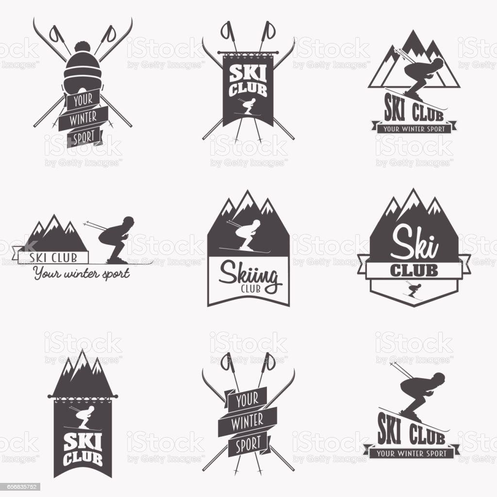 Set of ski club, Patrol Labels. vector art illustration