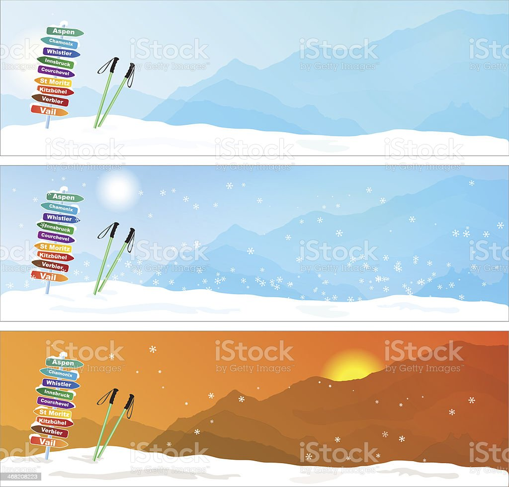 Set of Ski trip Banners vector art illustration