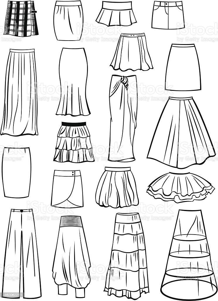 Set of skirts vector art illustration