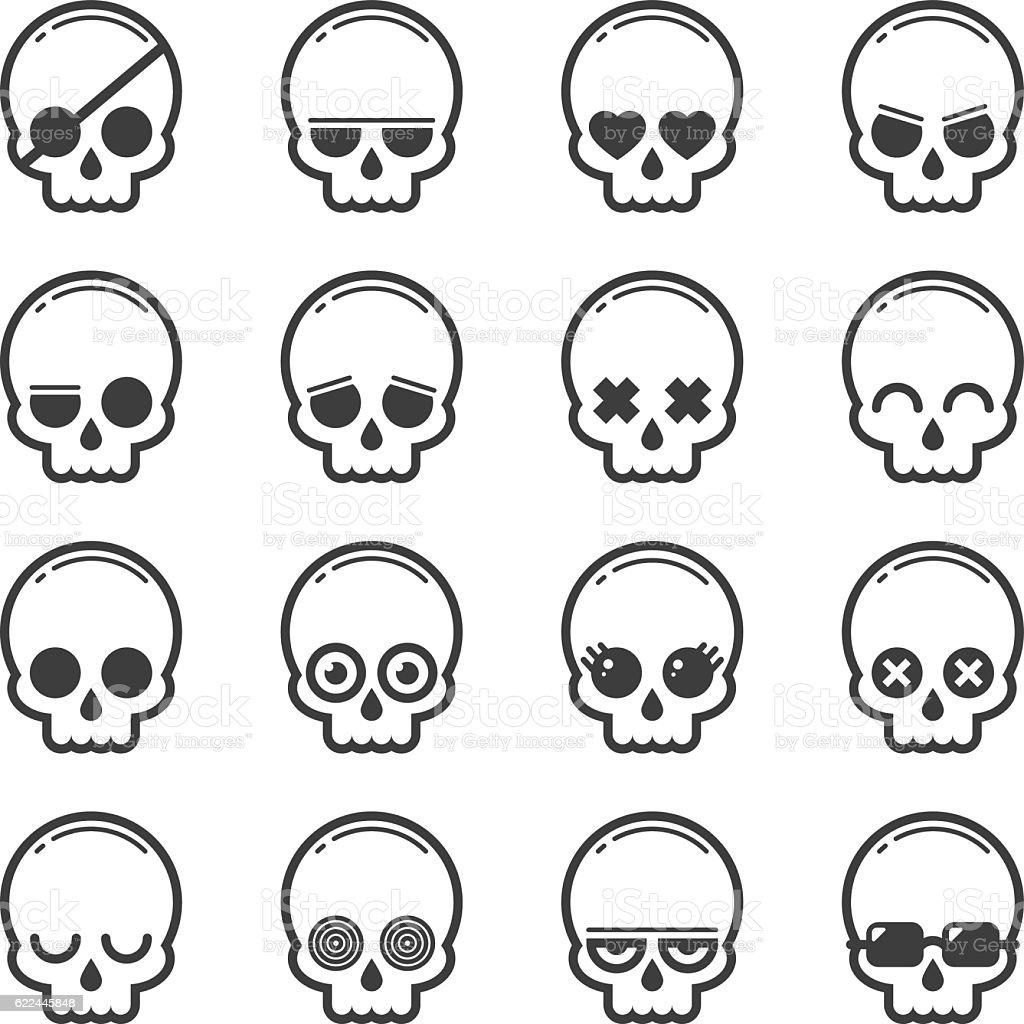 Set of skull heads cartoon vector art illustration