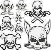 Set of skull pirates