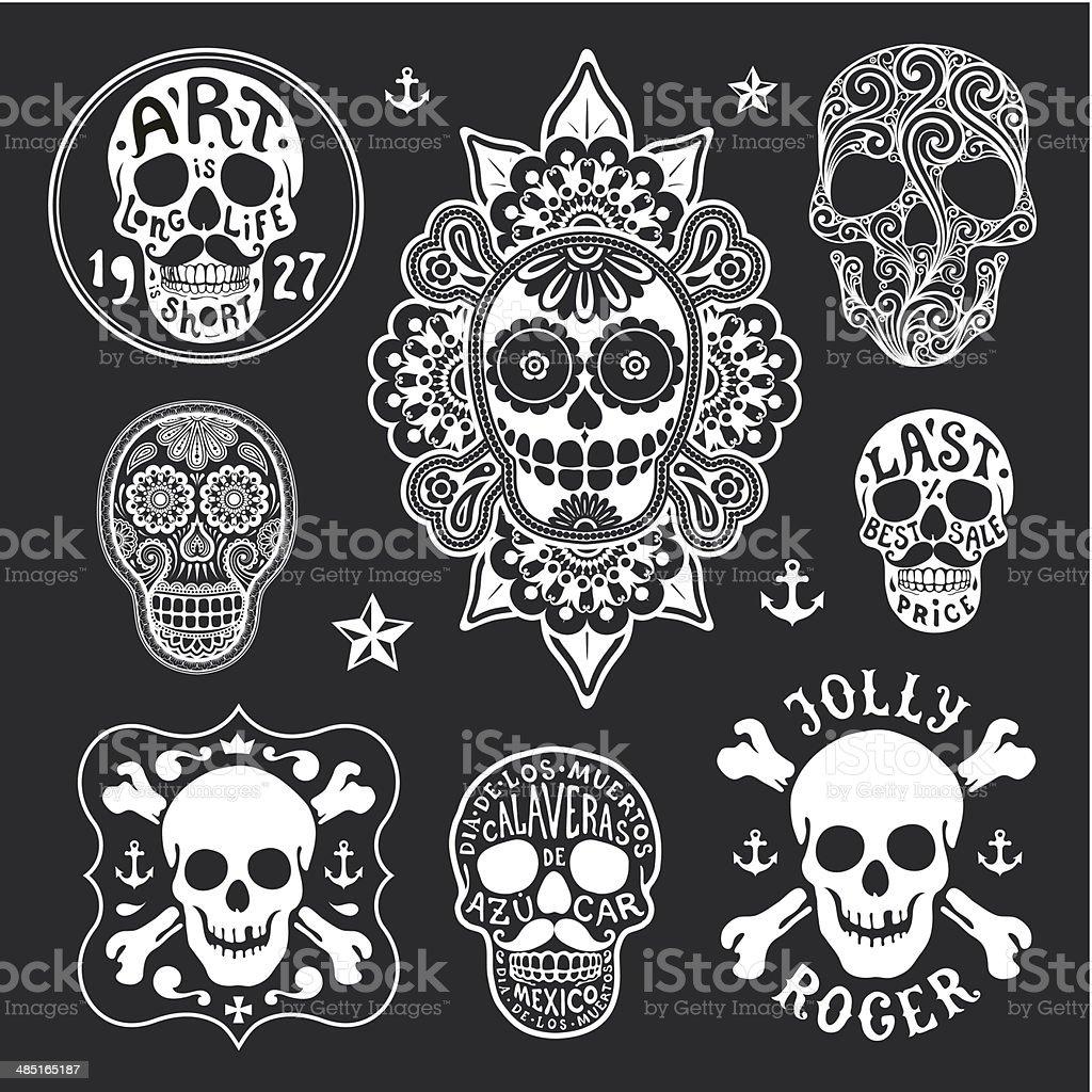 set of skulls vector art illustration