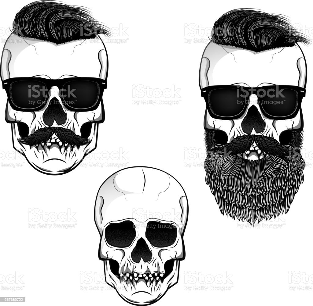 Set of skulls with beard, moustache and sunglases. vector art illustration