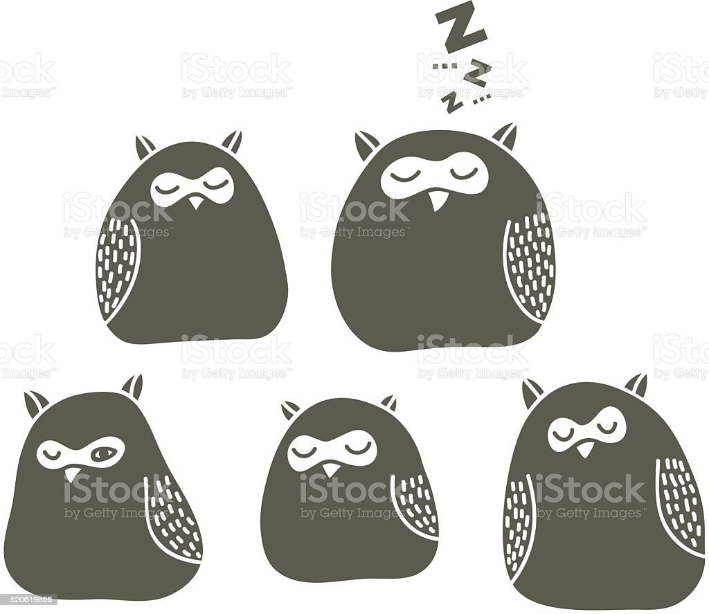 Set of sleeping owls. vector art illustration