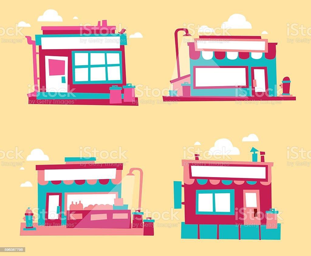 Set of small buildings vector art illustration