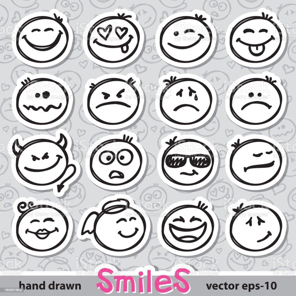 set of smiles, vector eps 10 vector art illustration