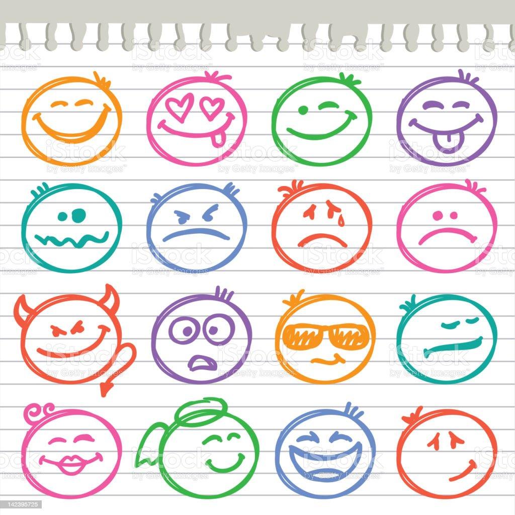 set of smiles vector art illustration