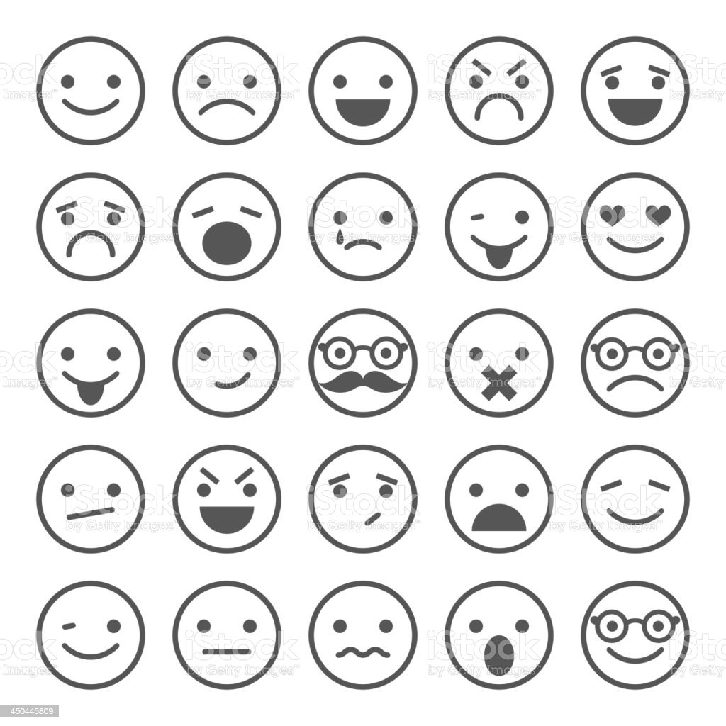 Set of smiley icons: different emotions vector art illustration