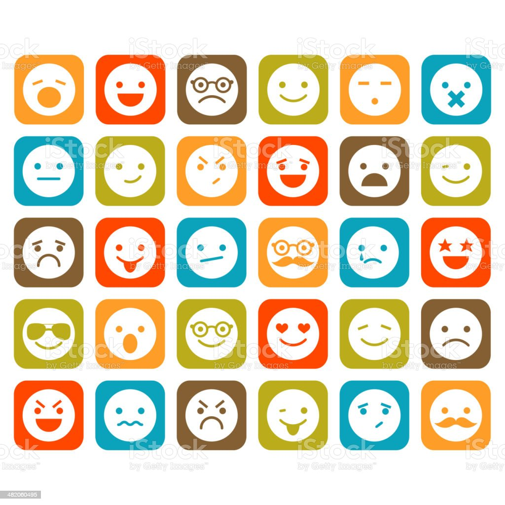 Set of smiley icons vector art illustration