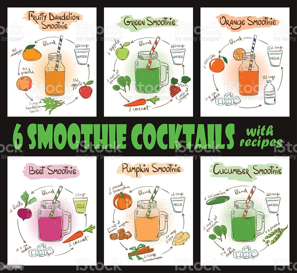 Set Of Smoothie Cocktails With Recipes. vector art illustration