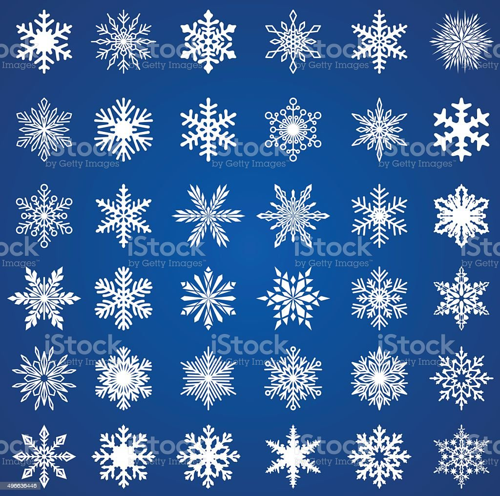 SEt of Snowflakes vector art illustration
