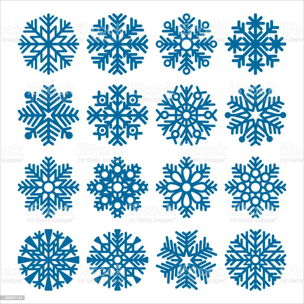 Set of snowflakes vector art illustration