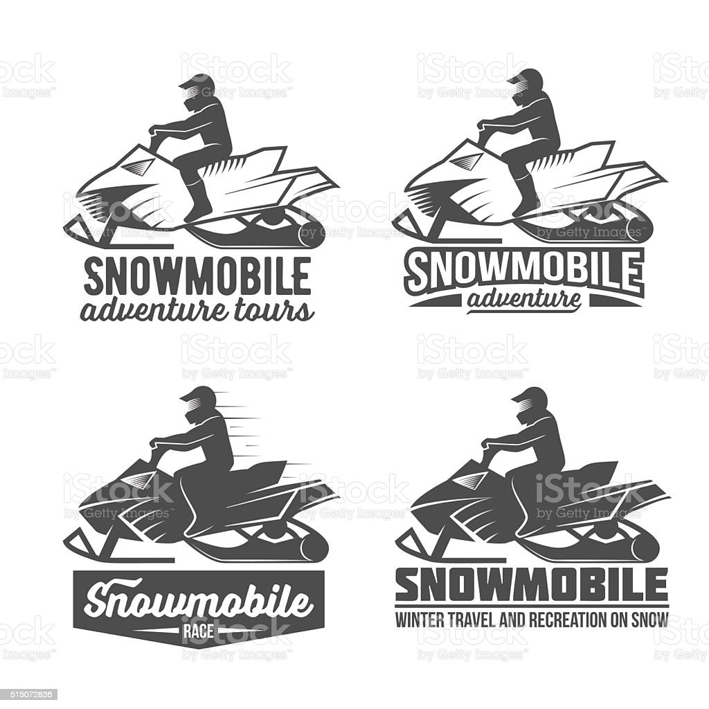 set of snowmobile dadges vector art illustration