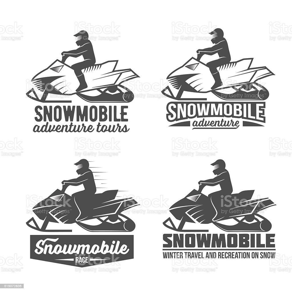 set of snowmobile dadges vector art illustration