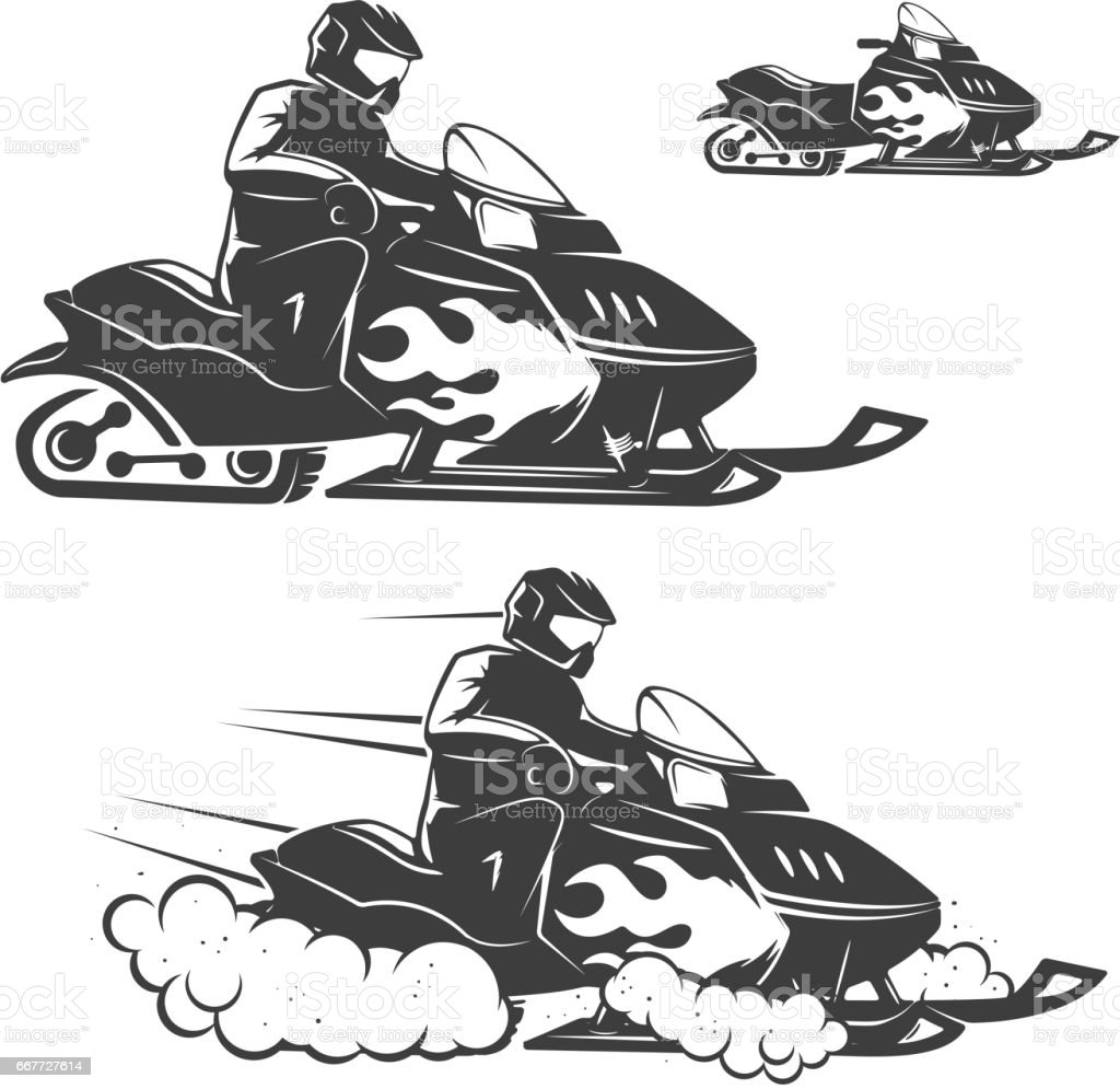 Set of snowmobile illustrations with driver isolated on white background. Design elements for logo, label, emblem, sign, brand mark. vector art illustration
